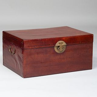 Chinese Brass-Mounted Iron Red Lacquer Trunk