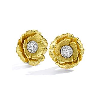 Mish Poppy Flower Earclips, 18k Gold & Diamond Pavé