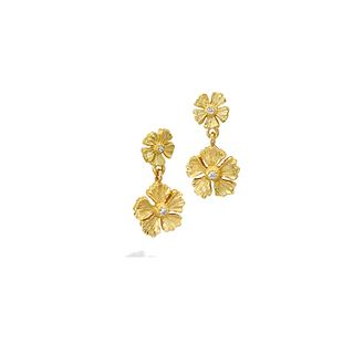 Mish Strawberry Flower Stud Drop Earrings,18k Gold & Diamond