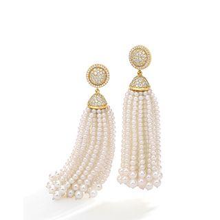 Mish Makena Tassel Earrings, 18k Gold, Diamond Pavé and Cultured Pearl