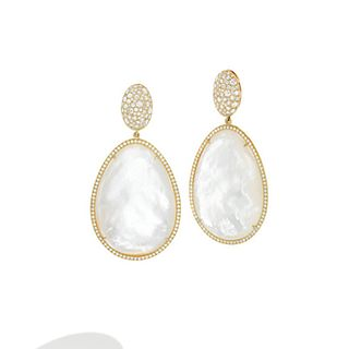 Mish Oval Dome Drop Earclips,18k Gold, Diamond Pavé and Mother of Pearl