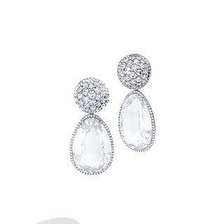 Mish Pavé Dome Earclips & Drops, 18k White Gold,  Diamond and Topaz
