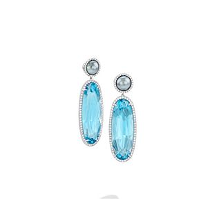 Mish Makena Earrings, 18k White Gold, Topaz, Tahitian Cultured Pearl and Diamond Pavé