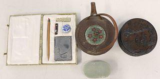 Antique Chinese Kettle, Porcelain Celadon Lamp,