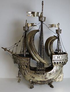 SILVERPLATE. Monumental Galleon Ship Model.