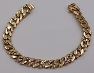 JEWELRY. Men's 14kt Gold and Diamond Bracelet.
