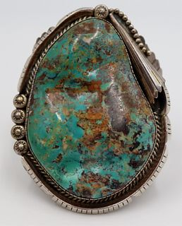 JEWELRY. Men's Signed Sterling and Turquoise Cuff