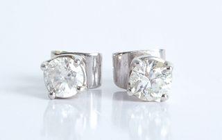 Pair, 14K White Gold & 1 CT TW Diamond Studs