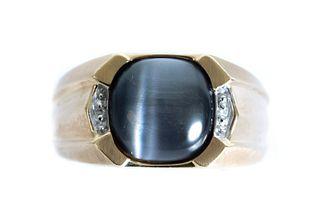Men's 10K Yellow Gold Moonstone Diamond Ring