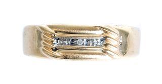 Men's 10K Yellow Gold & Diamond Ring, Size 10