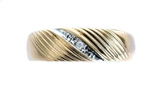 Men's 10K Yellow Gold & Diamond Ring Band