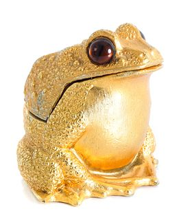 Vintage Gilt Metal Frog Form Table Lighter