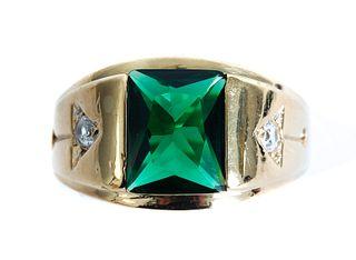 10K Yellow Gold & Green Gemstone Men's Ring