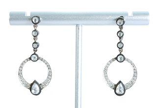 Pair, 18K White Gold & Diamond Chandelier Earrings