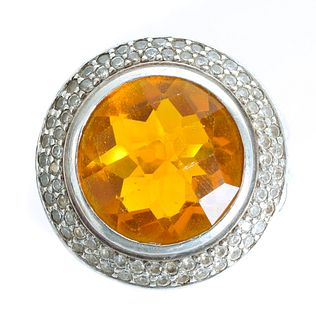 David Yurman Sterling Citrine & Diamond Ring