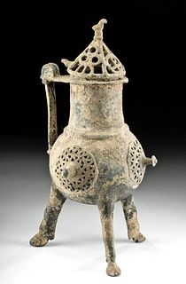 11th C. Egyptian Coptic Bronze Lidded Incense Burner
