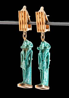 Egyptian Faience Khnum Pendants /   Gold Earrings
