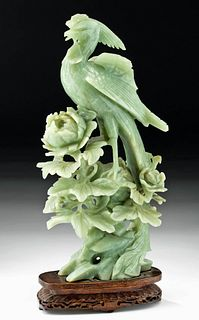 20th C. Chinese Greenstone Bird / Phoenix on Flowers
