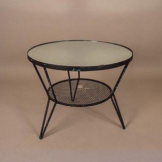 Mesa lateral en acero negro con cubierta de espejo / Black steel side table with mirror top