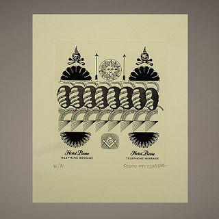 """Pedro Friedeberg. Hotel Pierre. Grabado 46 / 70 - """"Hotel Pierre"""" engraving"""