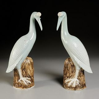 Pair Chinese Export porcelain cranes