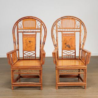 Pair Chinese Export bamboo high-back armchairs