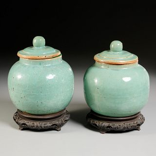 Pair Chinese celadon pottery lidded ginger jars