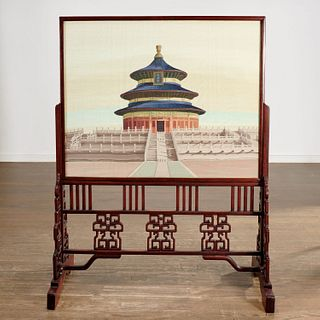 Large Chinese kesi silk embroidery panel on stand