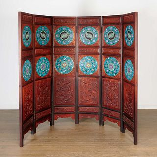 Chinese hardwood, cloisonne 6-panel screen