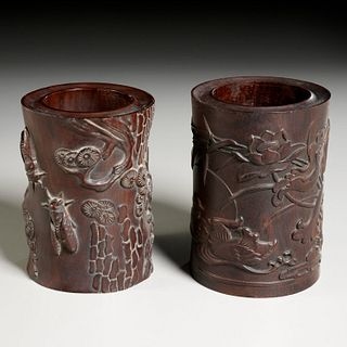 Near pair Chinese carved hardwood brush pots