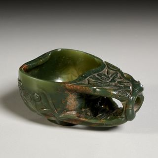 Chinese carved jade libation cup
