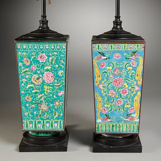 Pair Chinese enamel vases converted to lamps