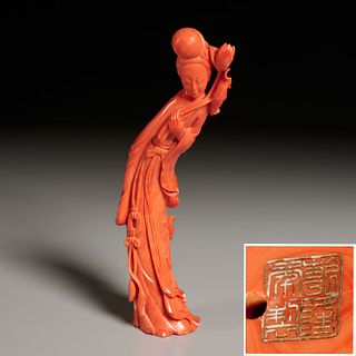 Chinese carved coral figure of immortal