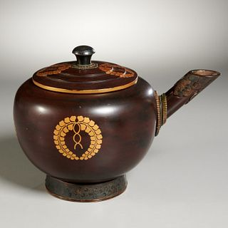 Japanese lacquered teapot with Royal crest