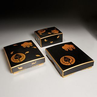 (3) Japanese gilt and black lacquer boxes