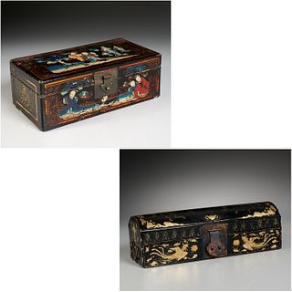 (2) Chinese Export black lacquered boxes