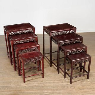 Pair Chinese carved hardwood nesting tables