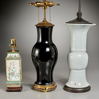 (3) Chinese porcelain vases converted to lamps