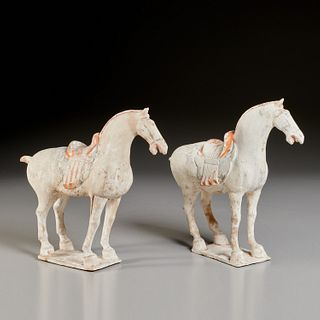 Pair Chinese painted pottery horses
