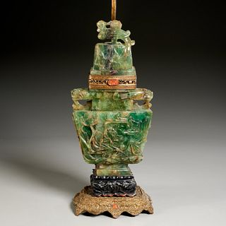 Chinese carved quartz urn converted to lamp