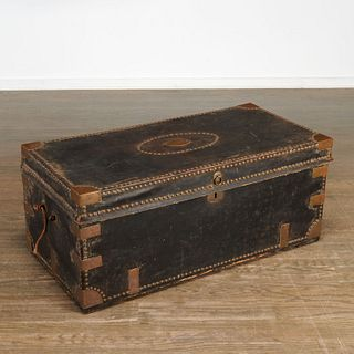 Large Chinese Export leather, camphor trunk