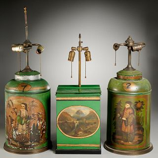 (3) English green painted tole tea canister lamps