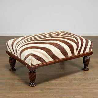 William IV style zebra hide upholstered ottoman