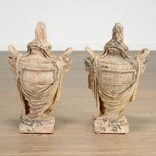 Pair antique Neoclassical terra cotta garden urns