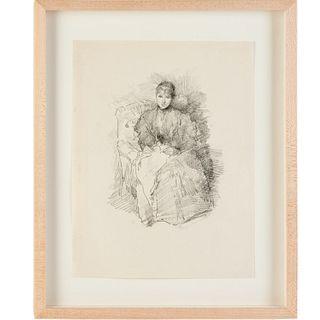 James A.M. Whistler, rare b/w lithograph, 1896