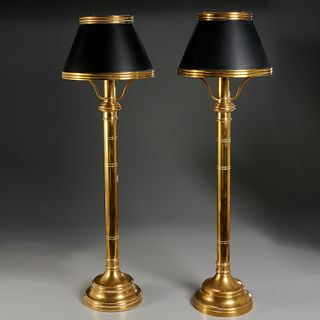 Chapman (attrib), pair tall brass lamps