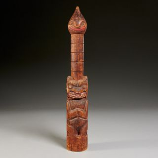 Pacific Northwest small carved wood totem