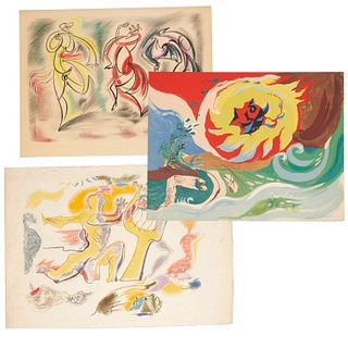 Andre Masson, (3) lithographs in color