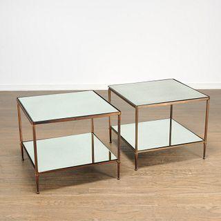 Maison Jansen (attrib.), pair bronze side tables