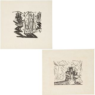 Lyonel Feininger, (2) woodcuts, 1919/1964